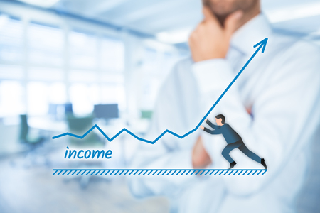 Increase income concept. Chief Financial Officer (CFO, shareholder) plan income growth represented by graph.
