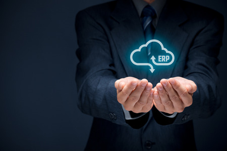 Foto de Enterprise resource planning ERP as cloud service concept. Businessman offer ERP business management software as cloud computing service.  - Imagen libre de derechos