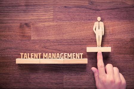 Photo pour Talent management concept. Human resources recruiter helps employee with his personal development. - image libre de droit