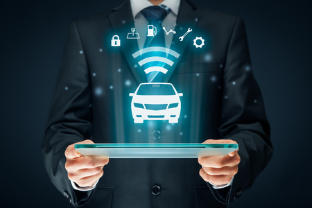 Photo pour Intelligent car, intelligent vehicle and smart cars concept. Symbol of the car and information via wireless communication about security, parking location, fuel, drive analysis, service and car settings. - image libre de droit