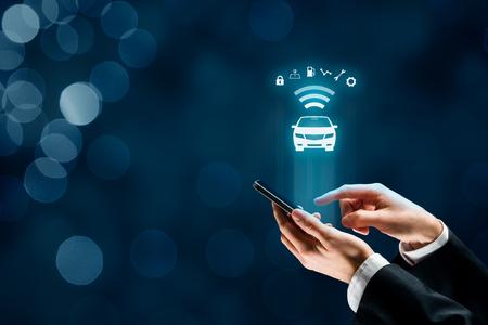 Photo pour Intelligent car, intelligent vehicle and smart cars concept with smart phones. - image libre de droit