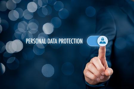 Photo pour Personal data protection concept. Businessman activate sensitive personal data protection. - image libre de droit