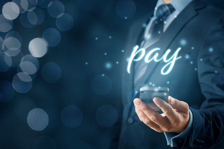 Photo for Smart phone app payment and fintech concept. Businessman with smart phone and text pay. - Royalty Free Image