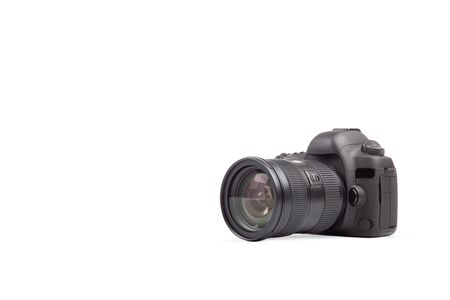 DSLR photo camera on white background. Universal graphics element for photographers propagation and designs.