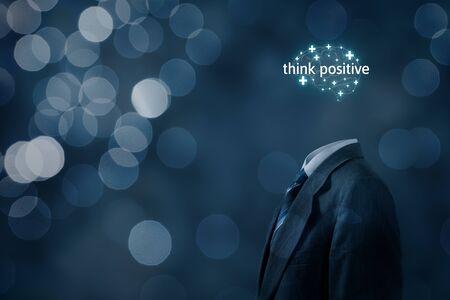Photo pour Coach motivate to think positive concept. Businessman, plus signs in shape of brain and text think positive. - image libre de droit