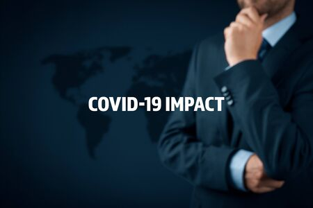 Photo pour Covid-19 impact in post covid era to global business. Politician, investor or businessman think about impact of covid-19 pandemic to global economy concept. - image libre de droit