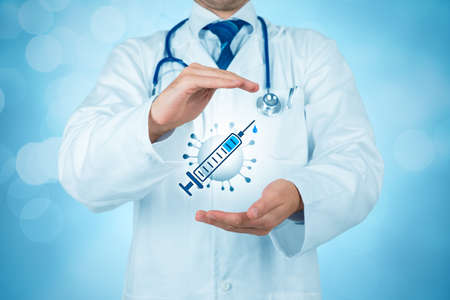 Photo pour Doctor practitioner with protective gesture and symbol of vaccine and virus. Covid-19 health-care and pharmaceutic concept. - image libre de droit