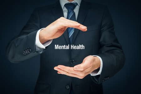 Photo pour Protect your mental health psychology concept. Psychologist with protective hand gesture and text mental health. - image libre de droit