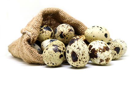 Quail eggs in hemp sack on white background.  Quail eggs has high level of vitamin A and B2