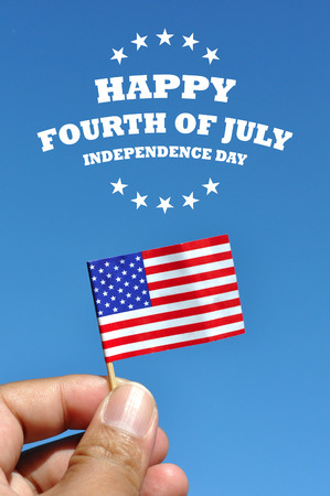happy fourth of july  independence day usa card flag in blue sky background