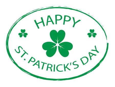 Illustration for Green Clover leaf element stamp for Happy St. Patricks Day - Royalty Free Image