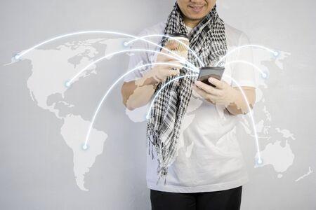 Photo pour Communication technology and internet worldwide for business. Global world network connected and telecommunication on earth. network and connection concept. - image libre de droit