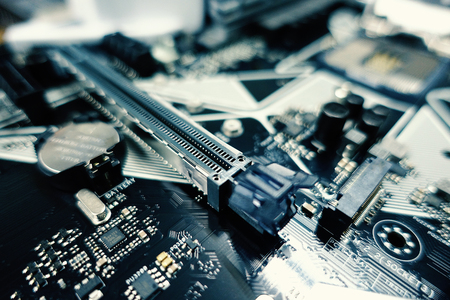 Photo for Computer motherboard and processor. Digital science and technology. - Image - Royalty Free Image