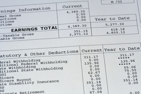 up close of paystub