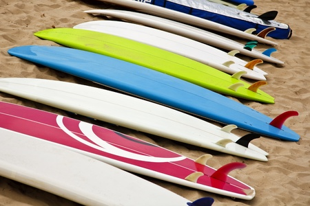 Colorful surf boards on the beach