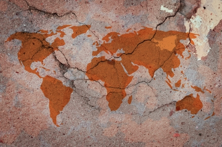 World Map On Cracked Concrete