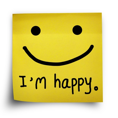 I am happy note on yellow sticker paper note isolated