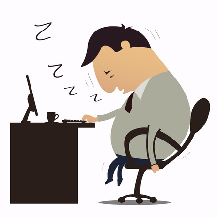 Man Sleepy at work