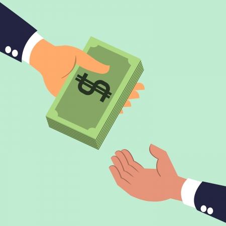 Illustration pour Businessman s hand giving money banknotes to each other  - image libre de droit