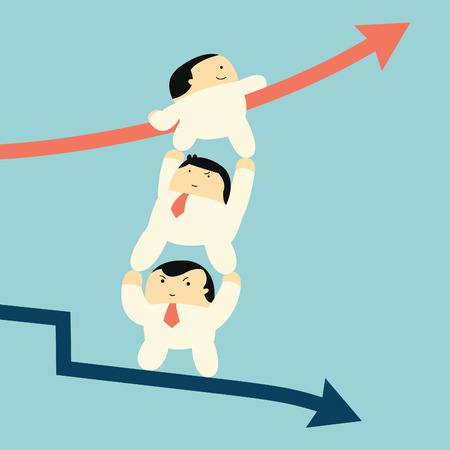 Cut character businessman supporting each other to climbing up to raising arrow from falling down business, metaphor to team work helping from crisis to successful business