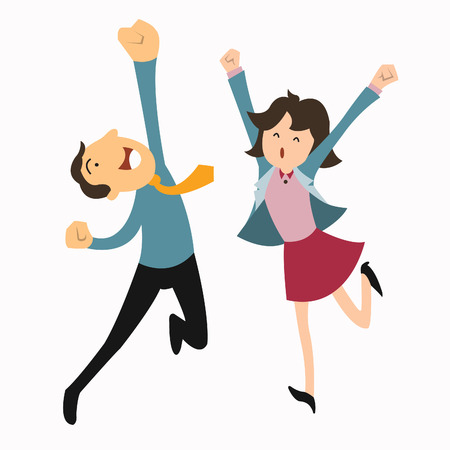 Happy business man and woman jumping in the air cheerfully  Feeling and emotion concept
