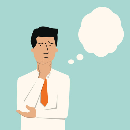 Ilustración de Business man thinking of something seriously   - Imagen libre de derechos