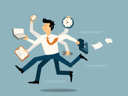Illustration pour Businessman running in a hurry with many hands holding time, smart phone, laptop, wrench, papernote and briefcase, business concept in very busy or a lot of work to do.  - image libre de droit