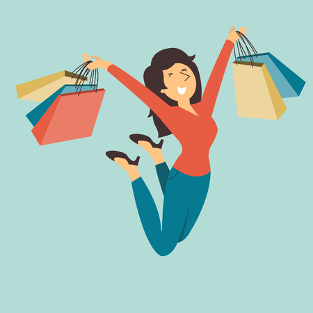 Happy and cheerful pretty woman jumping in the air with shopping bag in her hands.