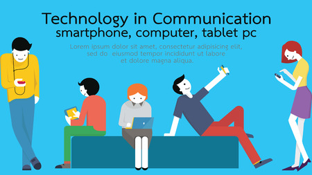 Illustrazione per Young people, man and woman, using technology gadget, smartphone, mobile phone, tablet pc, laptop computer in communication concept. Flat design with copyspace. - Immagini Royalty Free