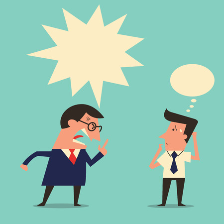 Cartoon character of angry boss being complaining to subordinate worker with copyspace. Simple design with easy to write your text or change color.
