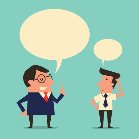 Character of manager or boss giving speech or instruction to subordinate worker who appear being confused or trying to get understanding. Simple design with  copyspace in speech bubble.