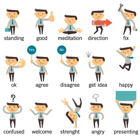 Ilustración de Set of businessman character or office person in various poses, expressing feeling and emotional concept, isolated on white. - Imagen libre de derechos