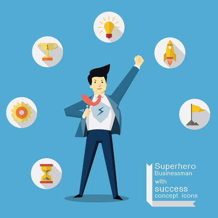 Vektor für Superhero businessman with success and vision concept icons, trendy flat design. - Lizenzfreies Bild