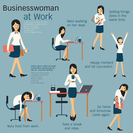 Character cartoon set of businesswoman or office person daily working in workplace, go to work, work on her desk, get tired, happy, take a break, busy, and go home. Simple design.