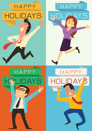 Set of business people, man, woman, and boss, raising hands with happy emotion for having and celebrate holidays. Each piece is in the ratio of A4 paper size.