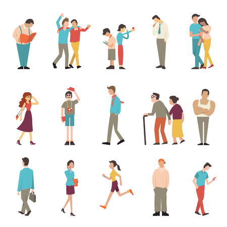 Illustration pour People in various lifestyles, businessman, woman, teenager, traveller, friends, sport woman, hip hop guy, senior couple, lovers. Character set with flat design style. - image libre de droit