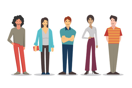 Illustration pour Cartoon characters of young people in various lifestyle, standing and smiling in casual dresses. Flat design, isolated on white. - image libre de droit