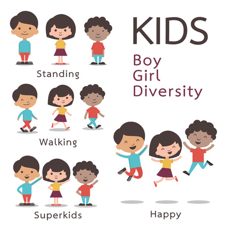 Cute character set of kids, boy, girl, diversity. Flat design.