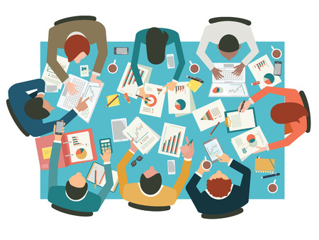 Ilustración de Diverse businesspeople working sharing idea presenting communicating discussing at meeting table. Flat design. Top view. - Imagen libre de derechos