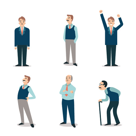 Ilustración de Character set of senior people elderly retired old man with cane backpain happy. Simple and flat design. - Imagen libre de derechos
