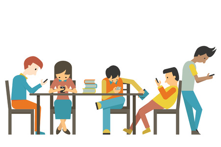 Group of student at teen age using smartphone in concept of smart phone addiction. Flat design.