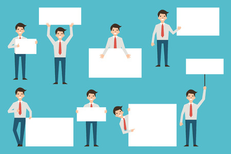 Set of businessman with blank white banner in various action. Full enght body of character, simple and flat design.