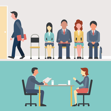 Illustration pour Business people, man and woman sitting and waiting for interview, recruitment concept. Flat design. - image libre de droit