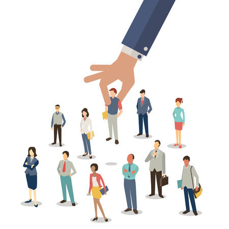 Businessman hand picking up selected man from group of businesspeople. Recruitment concept. Flat design.