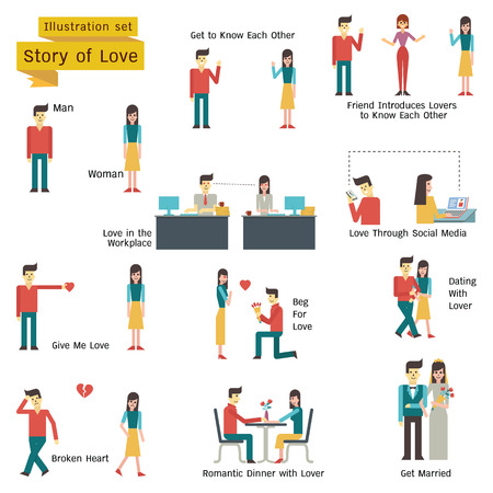 Illustration pour Illustration character of couple, man and woman in love and romance concept. Simple character with flat design. - image libre de droit