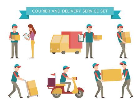Illustration pour Courier and delivery set. Simple character with flat design style. - image libre de droit