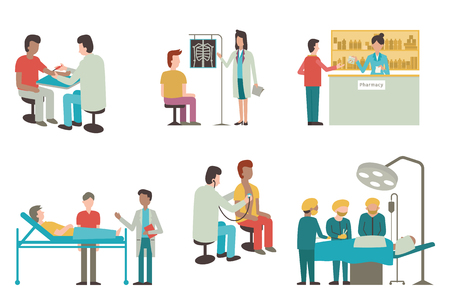 Illustration pour illustration set of doctor and patient in medical activity, injection, examination, operation, pharmacy and health care. Flat design. - image libre de droit