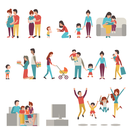 Illustration pour illustration character set of parents, mother, father with kids. Family, pregnant, holding baby, learning to walk, go shopping, give birthday cake and present, jumping in happiness. - image libre de droit