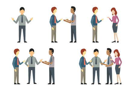 Illustration pour Full length of business man, woman, and people have conversation or talking, greeting, meeting. Vector illustration character set, flat design. - image libre de droit