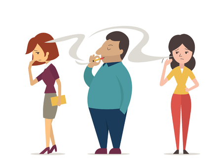 Illustration pour Woman or non smoking people try to covering her face from cigarette smoke, from man who keep smoking. Vector character design in concept of passive smoking, second hand smoking, and pollution. - image libre de droit
